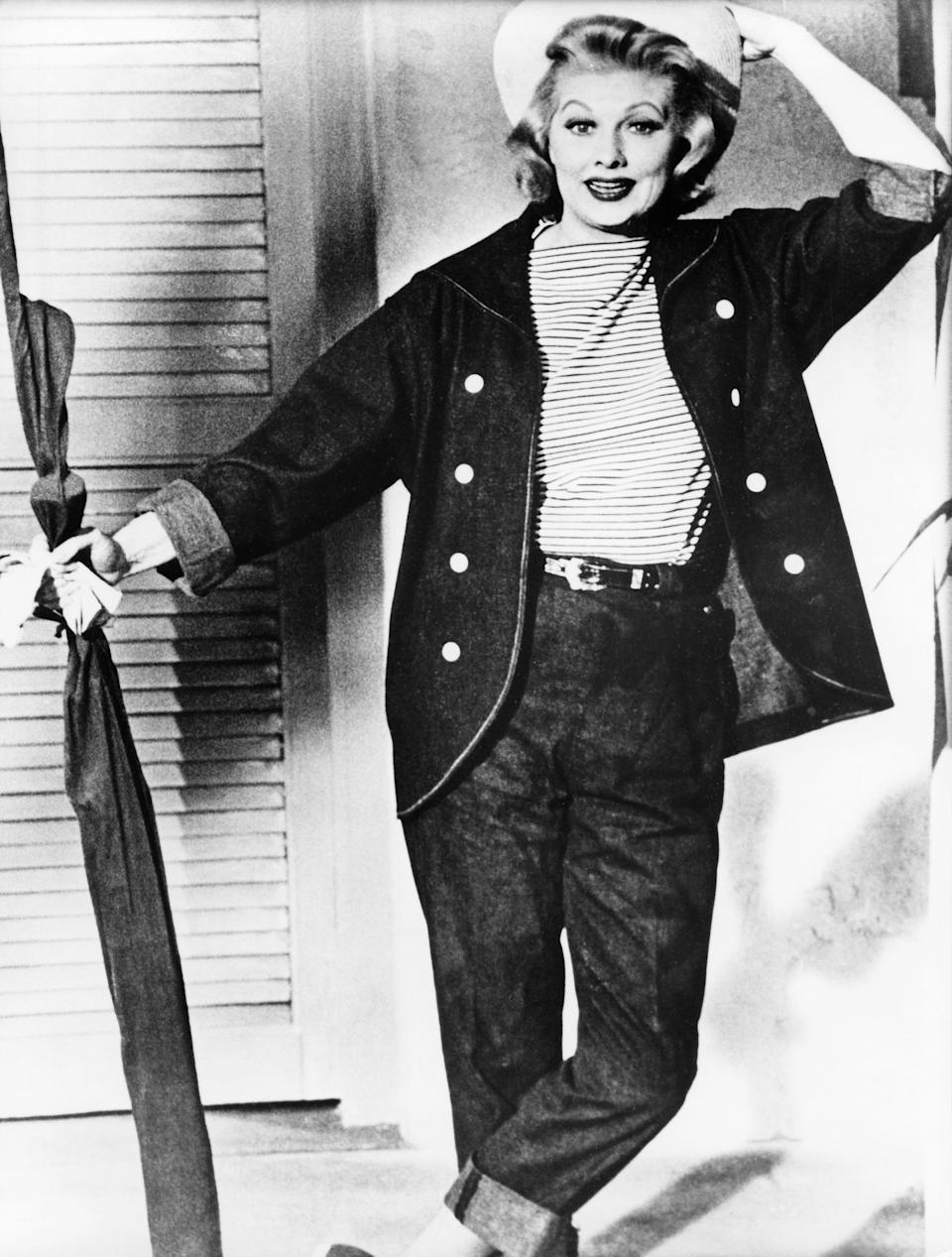 Ball wears a matching denim outfit in this photo from 1955.