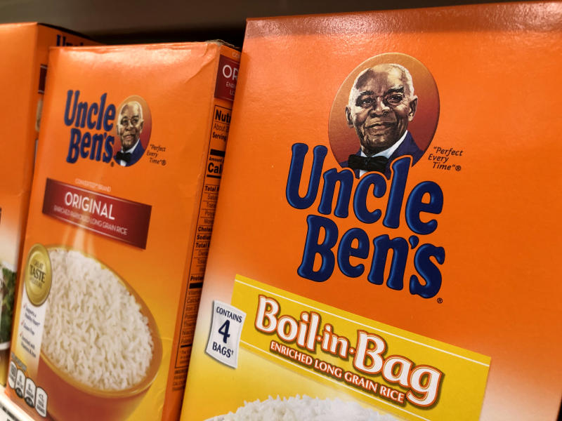 SAN ANSELMO, CALIFORNIA - JUNE 17: Boxes of Uncle Ben's rice are displayed on a shelf at a Safeway store on June 17, 2020 in San Anselmo, California. Quaker Oats announced that it will discontinue the 130-year-old Aunt Jemima brand and logo over concerns of the brand being based on a racial stereotype. Mars, the maker of Uncle Ben's rice is also considering a change in the rice brand. (Photo by Justin Sullivan/Getty Images)