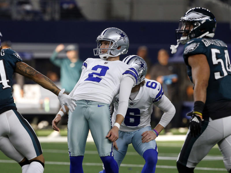 Dallas Cowboys kicker Brett Maher has missed three kicks over the last two games. (AP/Ron Jenkins)