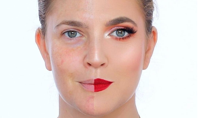 Drew Barrymore had her half-face of makeup done by Nikkie Tutorials. (Photo: Instagram/Drew Barrymore)