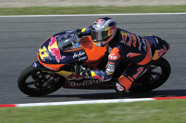 Red Bull KTM Ajo's Sandro Cortese rides at the Catalunya racetrack in Montmelo, near Barcelona, on June 1, 2012, during the Moto3 first training session of the Catalunya Moto GP Grand Prix. AFP PHOTO / JOSEP LAGOJOSEP LAGO/AFP/GettyImages