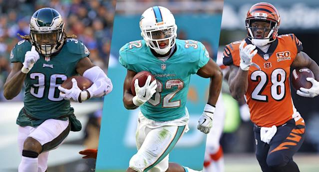 "<a class=""link rapid-noclick-resp"" href=""/nfl/players/28537/"" data-ylk=""slk:Jay Ajayi"">Jay Ajayi</a> and <a class=""link rapid-noclick-resp"" href=""/nfl/players/29307/"" data-ylk=""slk:Kenyan Drake"">Kenyan Drake</a> appear to be buys in fantasy drafts, while <a class=""link rapid-noclick-resp"" href=""/nfl/players/30161/"" data-ylk=""slk:Joe Mixon"">Joe Mixon</a> is a fade."