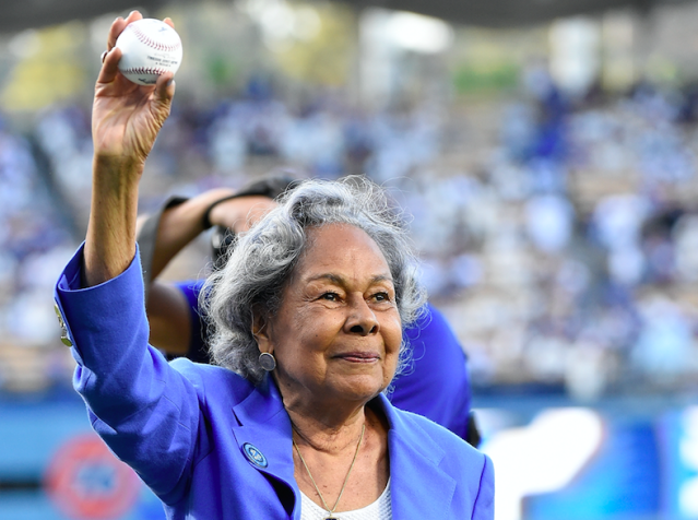 Rachel Robinson, wife of Jackie Robinson, threw out the first pitch before Game 1 of the World Series. (Getty Images)