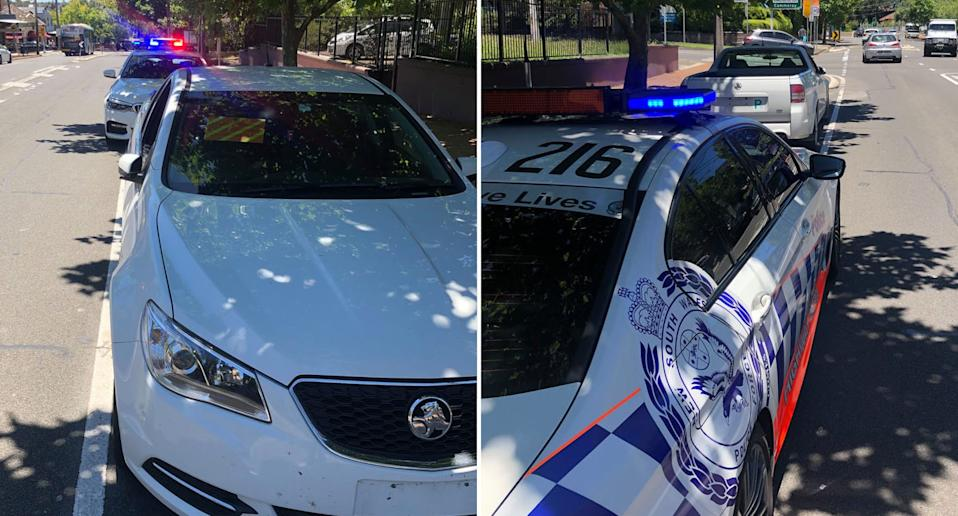 A Holden Commodore ute is pictured pulled over by NSW Police in North Sydney.