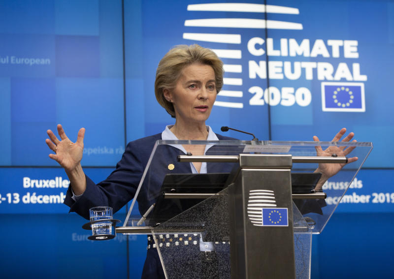 European Council President Ursula von der Leyen speaks during a media conference during an EU summit in Brussels, Friday, Dec. 13, 2019. European Union leaders gathered for their year-end summit and discussed climate change funding, the departure of the UK from the bloc and their next 7-year budget. (AP Photo/Virginia Mayo)