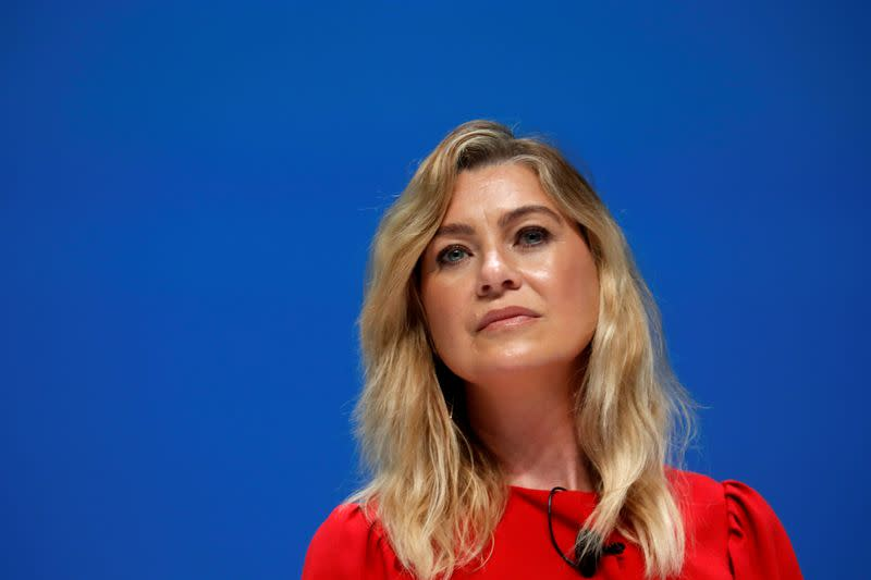 FILE PHOTO: Ellen Pompeo attends a conference at the Cannes Lions International Festival of Creativity, in Cannes