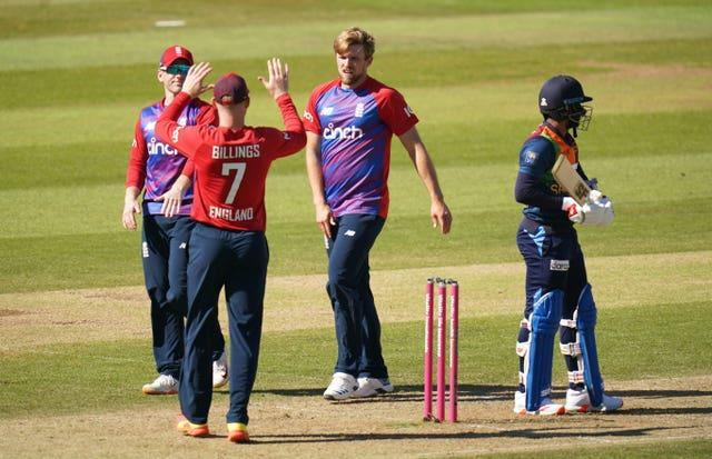 David Willey celebrates after taking a wicket