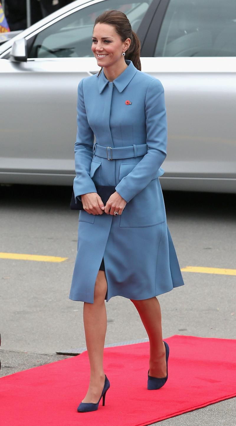 Kate turned heads in this Alexander McQueen coat on day four of the Royal Tour to New Zealand on April 10, 2014.