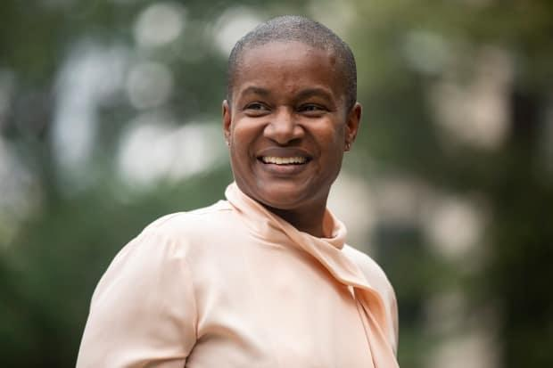 Green Party Leader Annamie Paul was all smiles on Tuesday a day after the party issued a statement saying that its review of Paul's leadership and membership had been halted. (Chris Young/The Canadian Press - image credit)