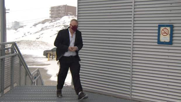 Daniel Hodgson, 41, arrives at the Nunavut Court of Justice on Tuesday, April 20.