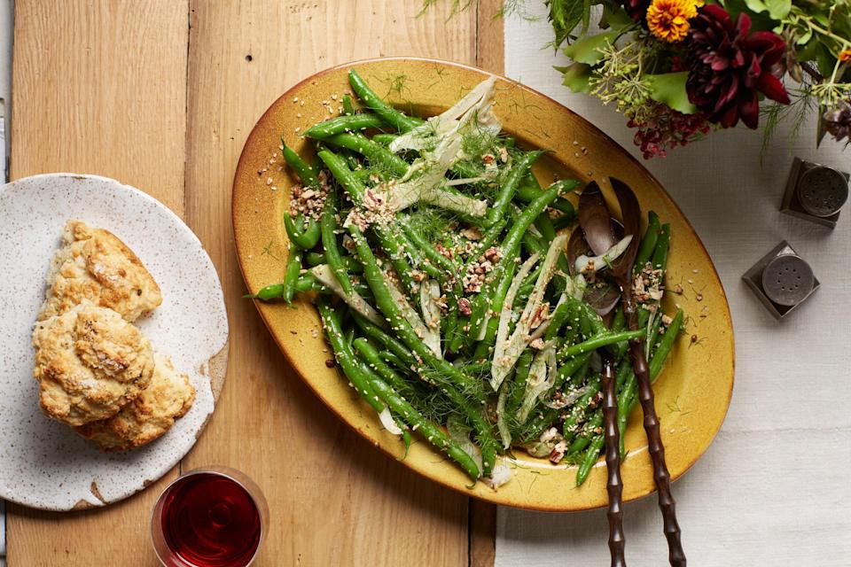 """The rich nut and spice blend here is easy to make and lends a zesty kick to the crisp green bean salad. <a href=""""https://www.epicurious.com/recipes/food/views/green-bean-salad-with-fennel-and-toasted-pecan-dukkah?mbid=synd_yahoo_rss"""" rel=""""nofollow noopener"""" target=""""_blank"""" data-ylk=""""slk:See recipe."""" class=""""link rapid-noclick-resp"""">See recipe.</a>"""