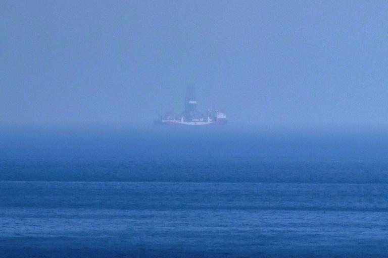 Turkish drillship Yavuz drillship seen from the Karpaz coast of the northern part of Cyprus