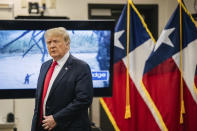 Former President Donald Trump arrives for a border security briefing to discuss further plans in securing the southern border wall on Wednesday, June 30, 2021, in Weslaco, Texas. Trump was invited to South Texas by Gov. Greg Abbott, who has taken up Trump's immigration mantle by vowing to continue building the border wall. (Brandon Bell/Pool via AP)