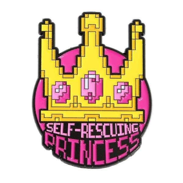 """<p><strong>Svaha</strong></p><p>svahausa.com</p><p><strong>$7.99</strong></p><p><a href=""""https://svahausa.com/collections/enamel-pins/products/self-rescuing-princess-lapel-pin"""" rel=""""nofollow noopener"""" target=""""_blank"""" data-ylk=""""slk:Shop Now"""" class=""""link rapid-noclick-resp"""">Shop Now</a></p><p>Give your 10-year-old girl <strong>an empowerment boost</strong> with this enamel pin, which proudly declares that she doesn't need anyone to treat her as a damsel in distress. It's from Svaha, which is known for making science-themed clothing. <em>No age recommendation given</em></p>"""