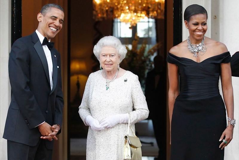 President Barack Obama, Queen Elizabeth and Michelle Obama