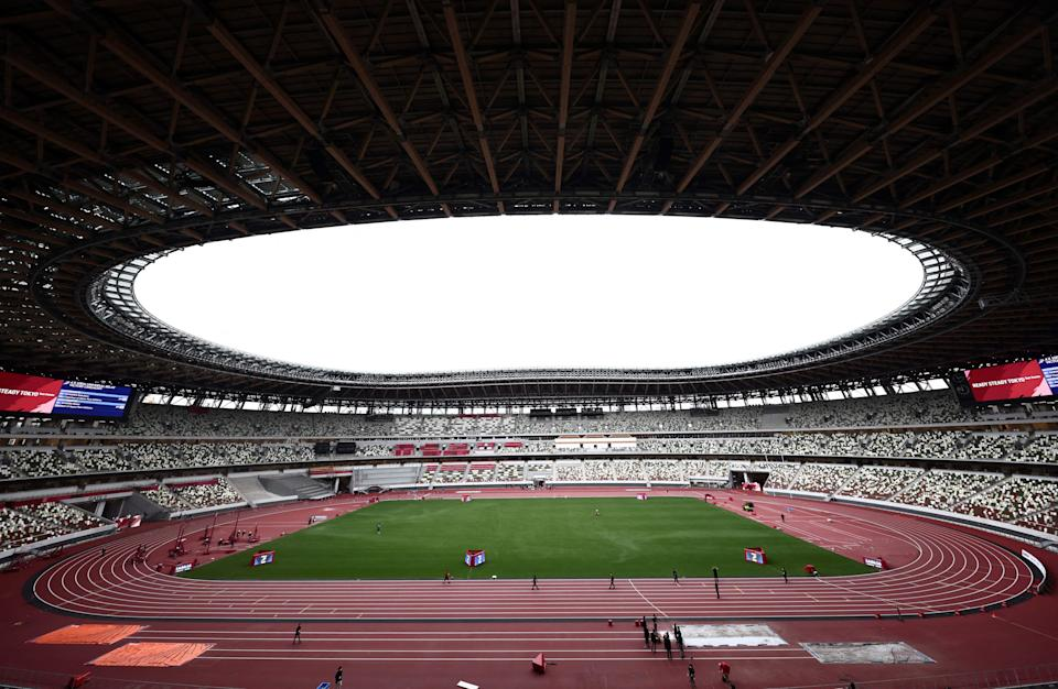 This picture shows a general view of the National Stadium, the venue for Tokyo 2020 Olympic Games athletics and para-athletics events during a para-athletics test event in Tokyo on May 11, 2021. (Photo by Behrouz MEHRI / AFP) (Photo by BEHROUZ MEHRI/AFP via Getty Images)