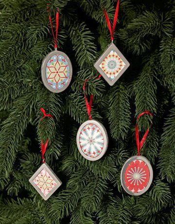 """<p>Save the leftover scraps from gift wrapping and pop them in cute nickel frames. Next year, swap in different designs to match a new theme. </p><p>Get the tutorial at <em><a href=""""https://www.msn.com/en-us/lifestyle/holiday-headquarters/easy-homemade-christmas-ornaments/ss-AA3cDKJ?ocid=iehp"""" rel=""""nofollow noopener"""" target=""""_blank"""" data-ylk=""""slk:Country Living"""" class=""""link rapid-noclick-resp"""">Country Living</a></em><em>.</em></p>"""
