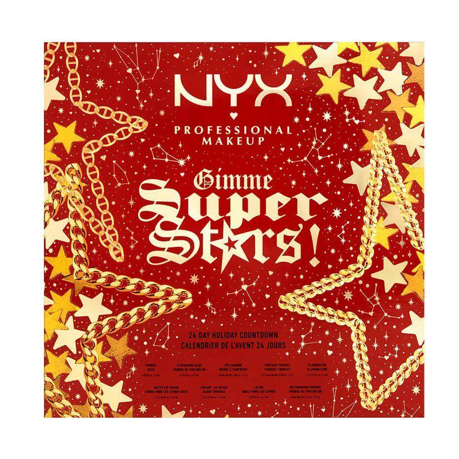 """<p><strong>NYX</strong></p><p>nyxcosmetics.com</p><p><strong>$60.00</strong></p><p><a href=""""https://go.redirectingat.com?id=74968X1596630&url=https%3A%2F%2Fwww.nyxcosmetics.com%2Flip%2Flipstick%2Fgimme-super-stars--holiday-advent-calendar%2F800897121778.html&sref=https%3A%2F%2Fwww.townandcountrymag.com%2Fstyle%2Fbeauty-products%2Fnews%2Fg2919%2Fbeauty-advent-calendars%2F"""" rel=""""nofollow noopener"""" target=""""_blank"""" data-ylk=""""slk:Shop Now"""" class=""""link rapid-noclick-resp"""">Shop Now</a></p><p><strong>Best For: </strong>The woman who lives for sparkle and shine. </p><p><strong>What's Inside: </strong>24 mini and full-sized versions of fan-favorite shades from NYX's beloved lip color lines, plus shimmering metallic eye shadows, liquid highlighters, primer, and even lip oil. </p>"""