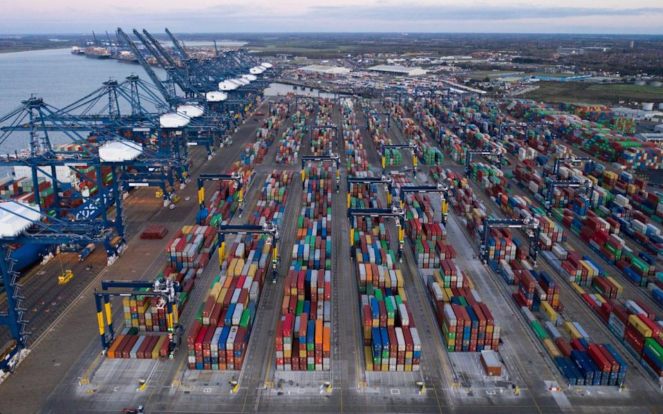 Felixtowe Port - where a buildup of UK cargo is fuelling fears of Christmas toy shortage - Getty/Dan Kitwood