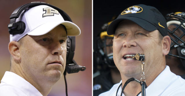 Jeff Brohm, left, and Purdue take on Barry Odom, right, and Missouri on Saturday. It is Purdue's first game against an SEC team since 2004. (AP Photo/File)