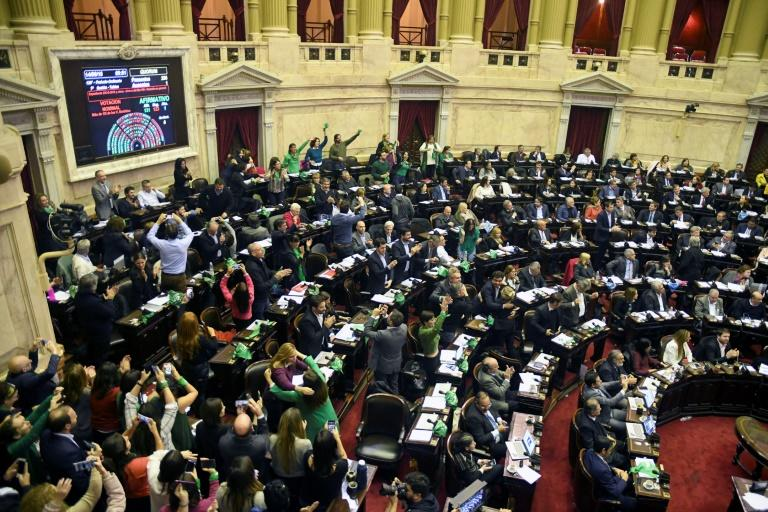Argentine lawmakers react after approving a bill to legalize abortion in this picture released by the national news agency Telam