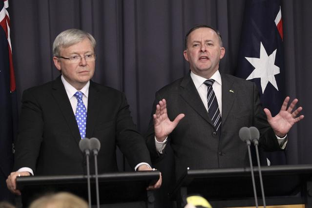 CANBERRA, AUSTRALIA - JUNE 26: Kevin Rudd (L) new Leader Of The ALP stands next to Anthony Albanese, Minister for Infrastructure and Transport as they speak to the media after winning the leadership ballot at Parliament House on June 26, 2013 in Canberra, Australia. In a snap leadership ballot held tonight Kevin Rudd was re-elected to leader of the ALP, a role he held from 2006 to 2010, before he was dumped by the party. Julia Gillard announced before the ballot that she would leave politics if she lost the ballot. (Photo by Stefan Postles/Getty Images)