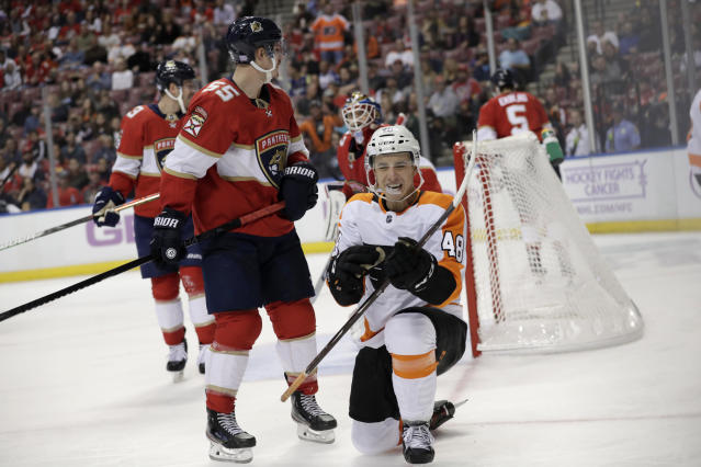 Philadelphia Flyers' Morgan Frost (48) reacts after scoring a goal during the second period of an NHL hockey game against the Florida Panthers, Tuesday, Nov. 19, 2019, in Sunrise, Fla. (AP Photo/Lynne Sladky)
