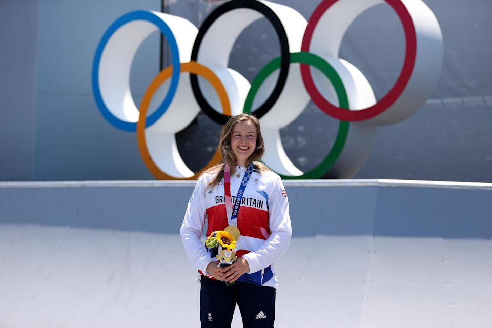 Worthington sporting her gold medal (Getty)