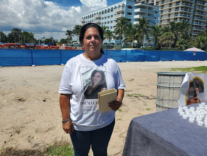 Rabbi Lisa Shrem, who lost her best friend, Estelle Hedaya, in the Surfside collapse, speaks at a press conference in favor of a monument to be built on the site where Champlain Towers South once stood. Sept. 23, 2021.