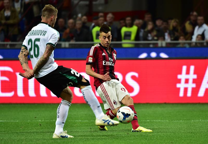 File photo of AC Milan's Stephan El Shaarawy (R) (AFP Photo/Giuseppe Cacace)