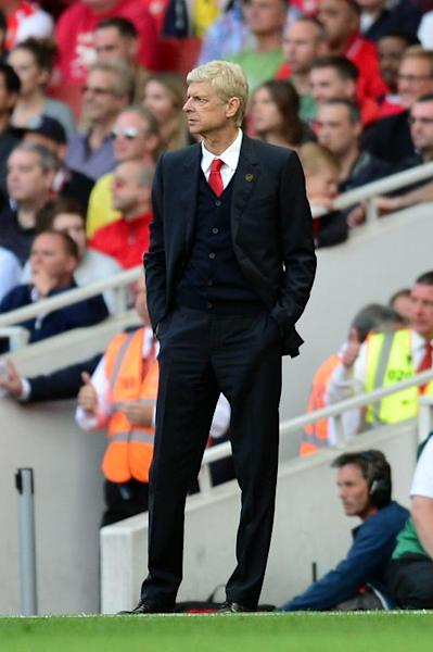 Arsenal' manager Arsene Wenger during his side's Premier League match against Crystal Palace at Emirates Stadium on August 16, 2014 (AFP Photo/Carl Court)