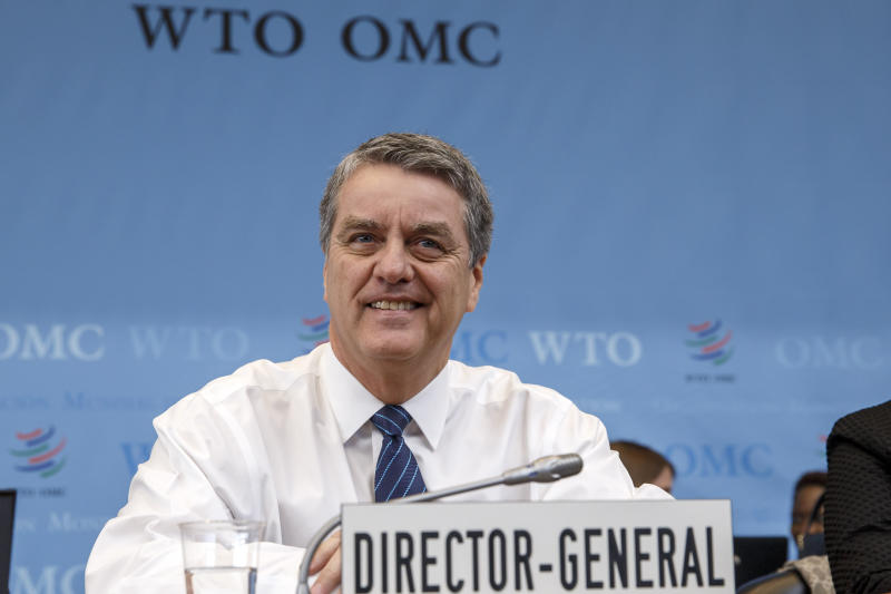 Brazilian Roberto Azevedo, Director General of the World Trade Organization, WTO, waits the opening of the General Council at the headquarters of the World Trade Organization, WTO, in Geneva, Switzerland, Monday, Dec. 9, 2019. (Salvatore Di Nolfi/Keystone via AP)