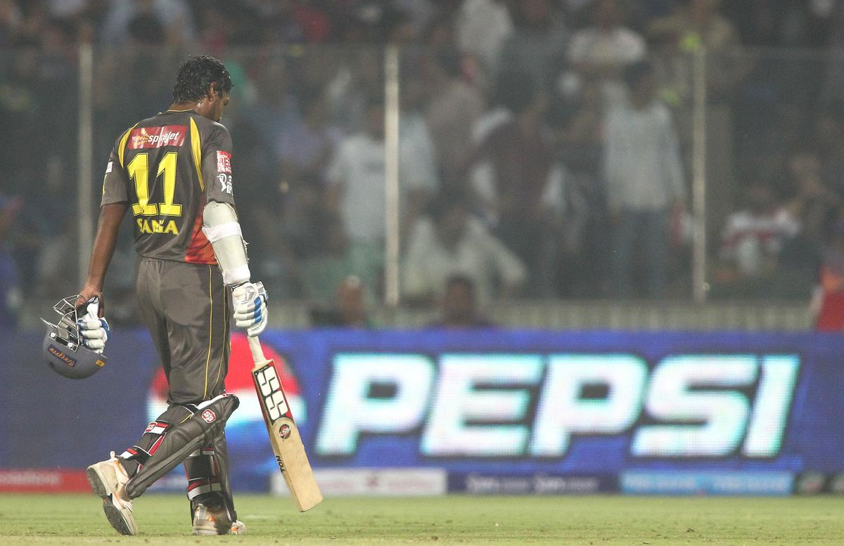 A dejected Sunrisers Hyderabad captain Kumar Sangakkara walks back to the dug out after losing his wicket during match 14 of the Pepsi Indian Premier League between The Delhi Daredevils and the Sunrisers Hyderabad held at the Feroz Shah Kotla Stadium, Delhi on the 12th April 2013..Photo by Shaun Roy-IPL-SPORTZPICS ..Use of this image is subject to the terms and conditions as outlined by the BCCI. These terms can be found by following this link:..https://ec.yimg.com/ec?url=http%3a%2f%2fwww.sportzpics.co.za%2fimage%2fI0000SoRagM2cIEc&t=1505913398&sig=muCz_HCwS5HKF3rS2ncPuA--~D