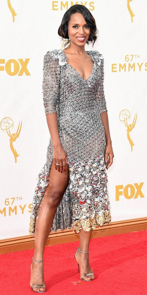 <p>The <em>Scandal </em>star shone bright like a diamond in a fresh off the runway Marc Jacobs gown at the 2015 Emmys.</p>