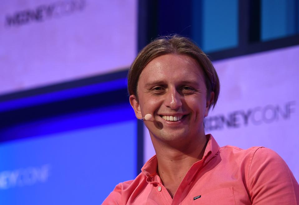 Dublin , Ireland - 13 June 2018; Nikolay Storonsky, Founder & CEO, Revolut, on Centre Stage during day two of MoneyConf 2018 at the RDS Arena in Dublin. (Photo By Stephen McCarthy/Sportsfile via Getty Images)