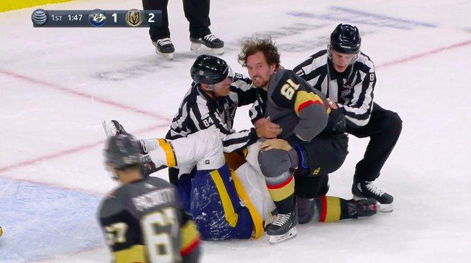 Mark Stone of the Vegas Golden Knights and Roman Josi of the Nashville Predators collided in a brief, but powerful fight on Tuesday night. (Twitter//@DimFilipovic)