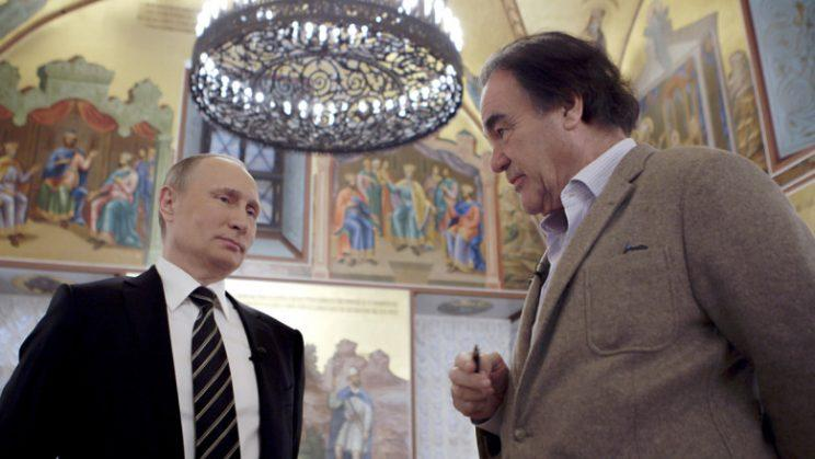 Russian President Vladimir Putin and Oliver Stone, in a moment from the Showtime documentary The Putin Interviews