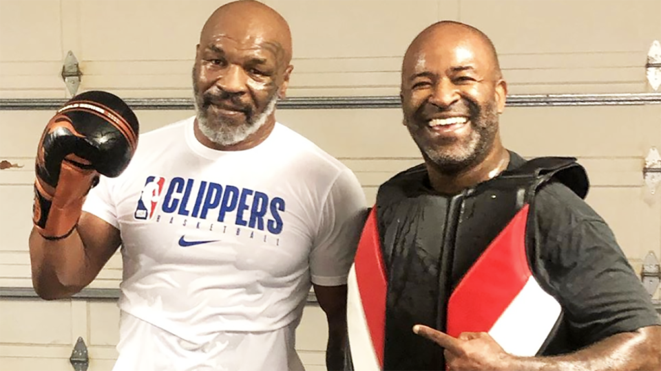 Mike Tyson, pictured here looking as good as ever after a workout.