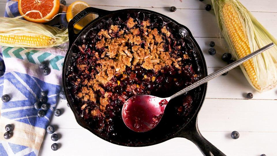 """<p>If you're not making a dessert with corn this summer, you're doing it wrong.</p><p>Get the recipe from <a href=""""https://www.delish.com/cooking/recipe-ideas/a27411768/blueberry-corn-crisp-recipe/"""" rel=""""nofollow noopener"""" target=""""_blank"""" data-ylk=""""slk:Delish"""" class=""""link rapid-noclick-resp"""">Delish</a>.</p>"""
