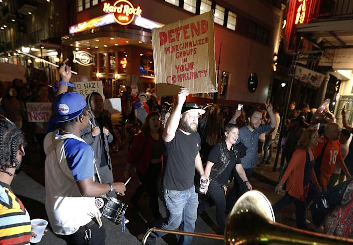 <p>Protesters make their way down Bourbon St. as they demonstrate against the election of Republican Donald Trump as President of the United States in New Orleans, La., on Nov.10, 2016. (Photo: Jonathan Bachman/Reuters) </p>