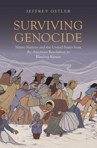 "This photo provided by the Yale University Press shows the book cover of ""Surviving Genocide: Native Nations and the United States from the American Revolution and Bleeding Kansas,"" authored by University of Oregon history professor Jeffrey Ostler and released in June 2019. The new book by the noted historian attempts to show how expanding American democracy hurt Native Americans in the early days of the nation and how tribes viewed the young United States as an entity seeking to erase them from existence. (Courtesy of Yale University Press via AP)"