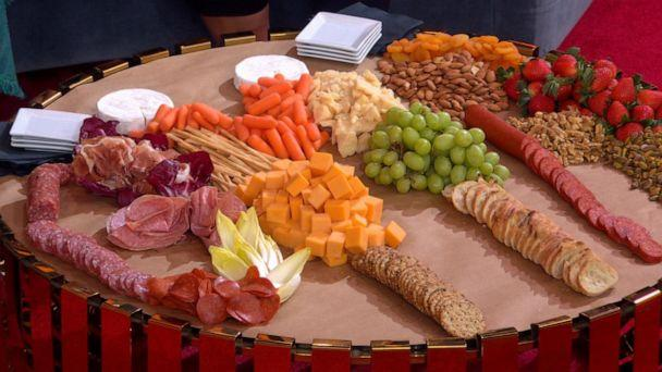 PHOTO: Chef and author Mary Giuliani created a cheese and charcuterie grazing station on parchment paper for quick cleanup. (ABC News)
