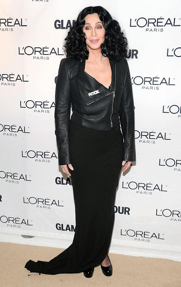 """Burlesque"" star Cher showed her rebel rocker spirit when she sported a leather biker jacket over her black gown. Dimitrios Kambouris/<a href=""http://www.wireimage.com"" target=""new"">WireImage.com</a> - November 8, 2010"