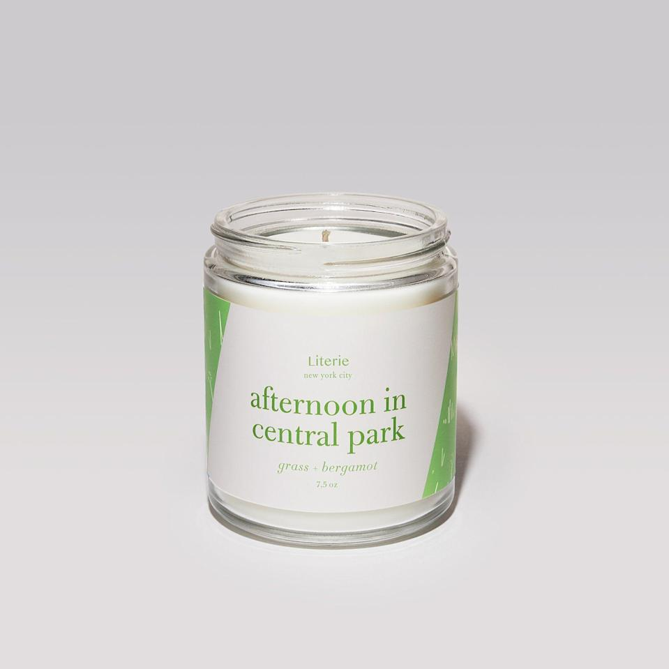 """<p><strong>Literie</strong></p><p>literiecandle.com</p><p><strong>$35.00</strong></p><p><a href=""""https://literiecandle.com/collections/new-york-collection/products/afternoon-in-central-park"""" rel=""""nofollow noopener"""" target=""""_blank"""" data-ylk=""""slk:SHOP NOW"""" class=""""link rapid-noclick-resp"""">SHOP NOW</a></p><p>Take a trip to the lush meadows of Central Park by way of this soy and coconut wax blend candle. Grass and bergamot notes will remind you of lazy days on the lawn. </p>"""