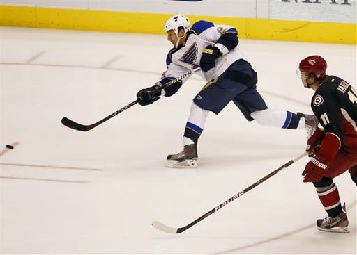 St. Louis Blues' Chris Stewart, left, shoot on goal as Phoenix Coyotes' Martin Hanzal looks on during the first period of an NHL hockey game, Friday, Dec. 23, 2011, in Glendale, Ariz. (AP Photo/Matt York)