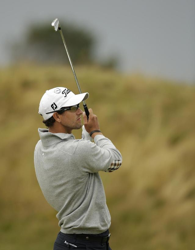 Adam Scott of Australia plays a shot on the sixth fairway at Royal Lytham & St Annes golf club during the second round of the British Open Golf Championship, Lytham St Annes, England, Friday, July 20, 2012. (AP Photo/Tim Hales)