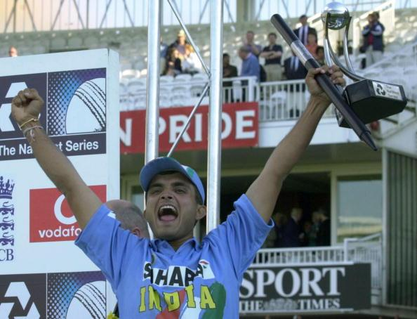 LONDON, UNITED KINGDOM:  India's  captain  Sourav Ganguly jubilates as he lifts the Natwest Trophy 13 July 2002 at Lord's in London after India beat England in a triangular series one-day final.   AFP PHOTO/MARTYN HAYHOW (Photo credit should read MARTYN HAYHOW/AFP/Getty Images)
