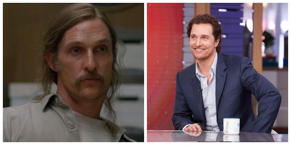 <p>When Matthew McConaughey played Rust Cohle in <em>True Detective</em>, he looked nearly unrecognizable thanks to his straggly long hair, weird handle bar mustache, and dead, unhappy eyes. While McConaguhey has had his fair share of interesting hair moments, he usually looks a whole lot more put together (and happier!) in reality. </p>