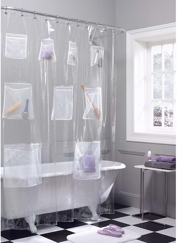 "You and your S.O. can stash soaps, hair products and shaving essentials into nine (yes, nine!) roomy pockets. <br /><br /><strong>Promising review:</strong> ""I love this shower curtain. I have been buying this curtain for the past 6 years. <strong>If you have a shower that doesn't have a lot of ledge room for all your 'stuff,' this shower curtain will be your best friend. You can fit so many things inside the pockets! I honestly only use like 4–5 of the pockets.</strong> You can also use this as a liner and have another more decorative shower curtain on the outside but I personally use it as a shower curtain. I usually change it every 6 months because it does start getting a little soap scummy on the bottom. The best shower curtain/liner money can buy!"" — <a href=""https://amzn.to/3geyYUs"" target=""_blank"" rel=""noopener noreferrer"">DAtkins</a><br /><br /><strong>Get it from Amazon for <a href=""https://amzn.to/3aeq1GQ"" target=""_blank"" rel=""noopener noreferrer"">$18.67</a>.</strong>"