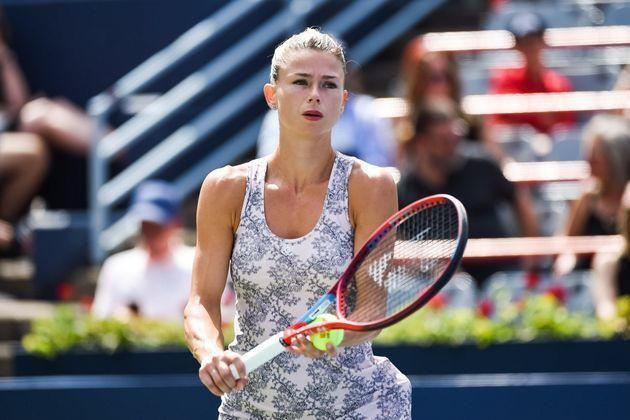 MONTREAL, QC - AUGUST 15: Camila Giorgi (ITA) returns the ball during the final WTA National Bank Open match on August 15, 2021 at IGA Stadium in Montreal, QC (Photo by David Kirouac/Icon Sportswire via Getty Images) (Photo: Icon Sportswire via Getty Images)